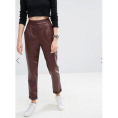 e850b417e3 Womens Loose Fit Straight Leg Burgundy Leather Trouser Pants
