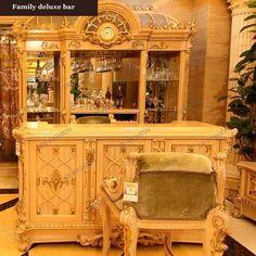 Custom Wine Bar Cabinet Furniture 1158 | Oe-fashion Wine Cabinet Furniture, Wine Bar Cabinet, Wine Cabinets, Dining Room Furniture, Dining Chairs, Furniture Covers, Furniture Styles, Cool Furniture, Curved Lines