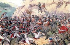 Battle of Busaco - 27th September 1810. Wellington and his British/ Portugese army successfully defended the ridge against the French under Marshal Massena.