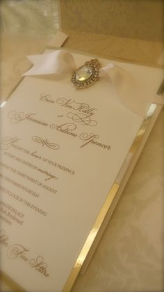 Ivory wedding invitation with texture and bling WhiteIvory
