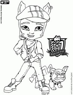 download and print clawdeen wolf little girl monster high coloring ... - Monster High Chibi Coloring Pages