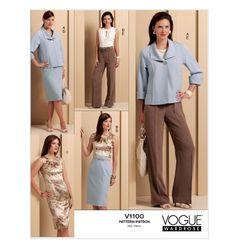 Vogue V1100 Misses' Jacket, Top, Dress, Skirt and Pants.  FABRICS: Gabardine, Linen and Crepe. Also for C (Dress): Charmeuse.
