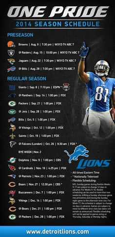 Detroit Lions!!  2014 Season Schedule Announced! #onepride