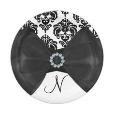 Black & White Damask Bling Bow Glam Sweet 16 Party Paper Plate - home decor design art diy cyo custom