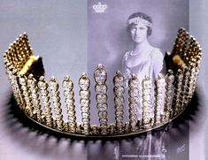 A close up of the diamond belle epoque tiara, 1879, of Queen Alexandrine of Denmark, and still regularly worn by her descendents.