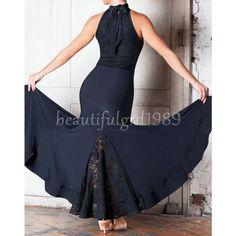 Latin Ballroom Competition Dance Dress Modern Waltz Tango Standard Dress#YG045