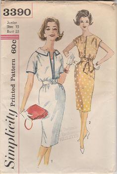 Lovely 60s Dress Pattern Simplicity 3390 Size 13 Uncut