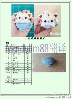 Crochet cat in a tea cup Kawaii Crochet, Crochet Disney, Love Crochet, Diy Crochet, Crochet Crafts, Crochet Dolls, Crochet Projects, Crochet Amigurumi Free Patterns, Knitted Animals
