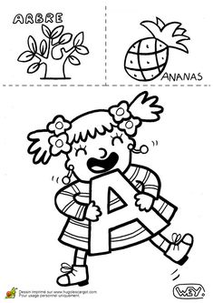 Lettre A Arbre Ananas, page 1 sur 26 sur HugoLescargot.com Kindergarten Activities, Preschool, Teaching Patterns, Teachers Corner, Letter Of The Week, Language Activities, Learning Through Play, Learn French, Embroidery Applique