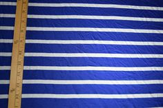 Blue and White striped Jersey Knit Fabric Royal Blue Stripes