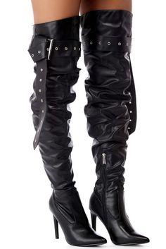 Black Thigh High Moto Boots