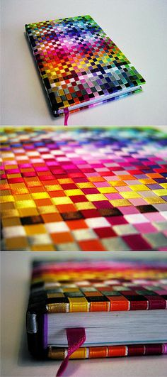 Ribbon Covered Books - I like the coloring.. would like to do this with a quilt.