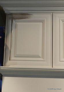 Crafty in Canada: Changing my kitchen (part tutorial Distressed Kitchen Cabinets, Glazed Kitchen Cabinets, Antique Kitchen Cabinets, Painting Kitchen Cabinets, Kitchen Pantry Design, Kitchen Storage, Kitchen Ideas, Glazing Cabinets, Painted Kitchen Tables
