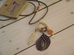 NEU *Sweet7* Kette BOHO Style INDIAN Leder Feder gold