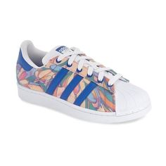 adidas 'Superstar' Print Sneaker featuring polyvore, women's fashion, shoes, sneakers, low profile sneakers, flower print sneakers, flower print shoes, adidas trainers and lace up shoes