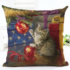 Kitten Christmas Tree Cushion Cover. 30% proceeds from every purchase goes to animal charities.
