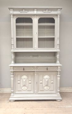 Beautiful tall French antique Louis XIII Style Dresser / Frenchfinds.co.uk / pavilion grey with highlights / painted furniture