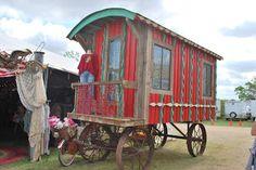 Gypsy wagon at Zapp Hall antique show, Warrenton, Texas