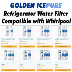GOLDEN ICEPURE  Refrigerator Water Filter, Compatible with Whirlpool Reverse Osmosis System, Water Filtration System, Water Filter, Refrigerator, Filters, Water Purification, Refrigerators