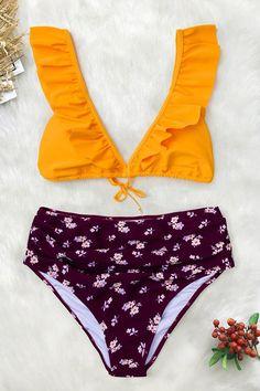 0f6e76180e911 #EnvyWe #CupShe - #CUPSHE Yellow And Purple Ruffled Bikini - EnvyWe.com