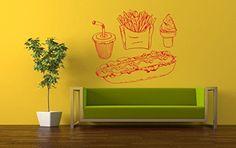 Wall Vinyl Sticker Decals Mural Room Design Pattern Art Hamburger Fries Food Kitchen bo1381
