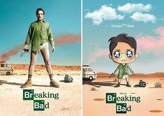 Pôsteres de séries de TV transformados em fofas ilustrações