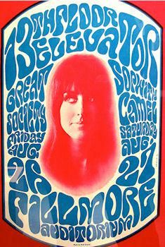 Poster by Wes Wilson - American artist and one of the leading designers of psychedelic posters. He invented a style that is now synonymous with the peace movement, psychedelic era and the 1960s. In particular, he is known for inventing and popularizing a 'psychedelic' font around 1966 that made the letters look like they were moving or melting.