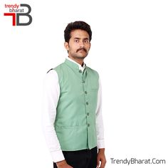 Sparkle the traditional look with this Sea Green Nehru Jacket this season. #Retro #Betrendy