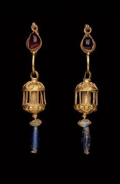 Pair of earrings with large pendants, 2nd-1st centuries B.C., Ancient Mediterranean, Height: 2 3/8 in. (6.033 cm.), Gold, Garnet, Glass
