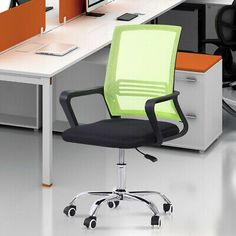 Office Chair Executive Task Ergonomic Computer Desk Chair Mid-Back Mesh Green US #affilink Mesh Chair, Mesh Office Chair, Office Computer Desk, Adjustable Desk, Home And Garden, Furniture, Home Decor, Interior Design, Home Interior Design