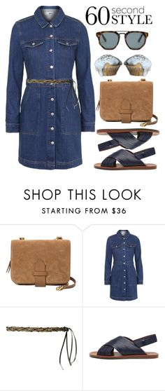 """""""60 Second Style: Denim Shirt Dress"""" by alaria ❤ liked on Polyvore featuring Violeta by Mango, Topshop, MANGO, Mulberry, Le Specs, women's clothing, women, female, woman and misses"""