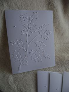 Embossed Christmas Sets of Very Simple and Elegant Holly Berries Embossed Note Card and Envelopes Embossed Christmas Cards, Holly Berries, Stamping Up, Homemade Cards, Note Cards, Envelope, Crafting, Paper Crafts, Notes