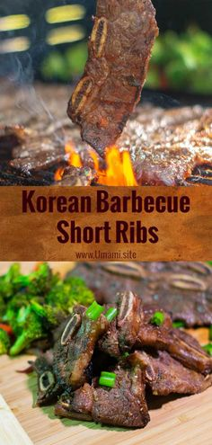 Marinated with soy sauce, fresh lime juice, ginger and garlic these grilled Korean BBQ short ribs have a hint of smoke and deep umami flavors. Korean Bbq Marinade, Korean Bbq Ribs, Korean Bbq Recipe, Yummy Korean Bbq, Korean Short Ribs, Korean Bbq Sauce, Korean Beef, Korean Recipes, Rib Recipes