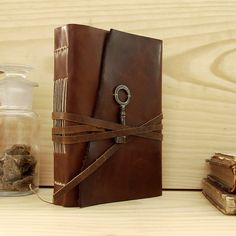 Dark Brown Leather Journal with Old Key