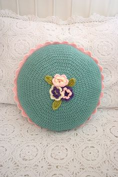 Seagreen Crochet Flower Cushion