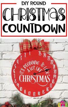 Round Christmas Countdown Sign - Burton Avenue