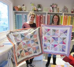 Rachel & Ruth with the quilts they made in a weekend - great work and stunning colours! Students, Organization, Colours, Quilts, Home Decor, Scrappy Quilts, Getting Organized, Organisation, Decoration Home