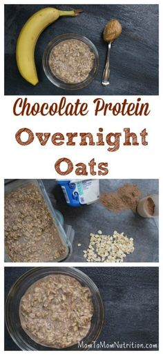 A 5-ingredient recipe for chocolate protein overnight oats makes one healthy, protein-packed recipe for breakfast or snacking! @MomNutrition