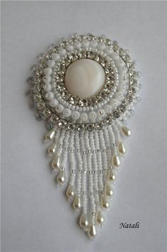 Beaded White Brooch by Брошки