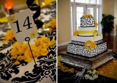yellow black and damask cake and centerpiece