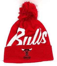 Chicago Bulls 2015 Mitchell & Ness Knit Beanie with Pom