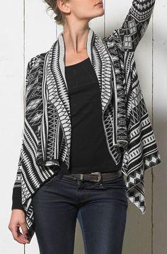 Coline USA Black & White Geometric Open Cardigan