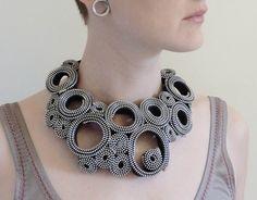 "Silver Circles Zipper Necklace. 95$ (74€), via Etsy. by ""horseflesh"" (Camilla Taylor)"