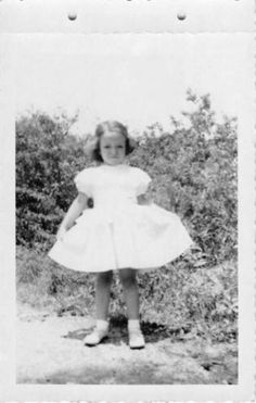 Black and White Vintage Snapshot Photograph Girl Sunday Dress Yard 1950's