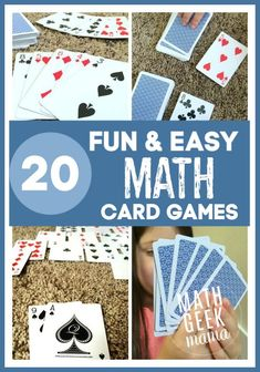 Math games 363384263686423929 - A great collection of fun math card games! These are easy, and in most cases all you need is a deck of cards! Source by mathgeekmama Easy Math Games, Fun Educational Games, Math Card Games, Kindergarten Math Games, Card Games For Kids, Fun Math Activities, Dice Games, Kids Math, Math Math