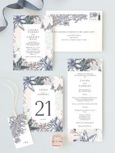 Pastel floral watercolor invitation suite. Soft colors. Available on Minted.com and by Minted artist, Phrosne Ras.