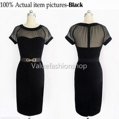 Women Vintage Belted Elegant See Through Party Cocktail Evening Casual Dress 307 | eBay