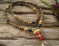 Mens Wooden 108 Beaded Mala Skull Meditation Grunge Hippie Surfer Emo Necklace