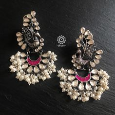 Silver Earrings With Pearls Indian Jewelry Earrings, Fancy Jewellery, Silver Jewellery Indian, Jewelry Design Earrings, Gold Earrings Designs, India Jewelry, Trendy Jewelry, Earrings Uk, Silver Earrings