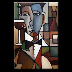 Art: Cubist 132 2436 GW Original Cubist Art Sommelier by Artist Thomas C. Fedro